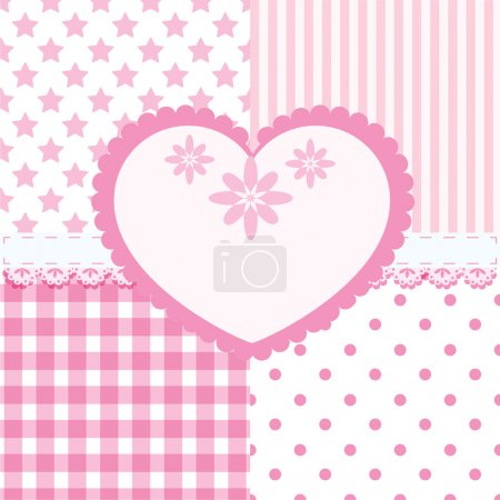 Vector set of heart and 4 seamless background patterns in light pink