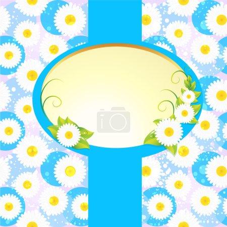 Illustration pour Cadre ovale blanc sur fond floral - image libre de droit
