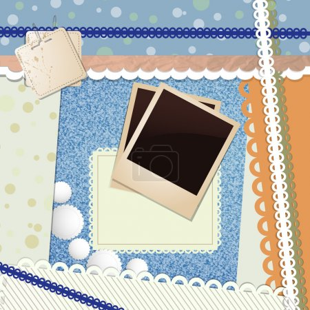 Illustration for Two Blank Aged Photo Frames with bright elements and lace - Royalty Free Image