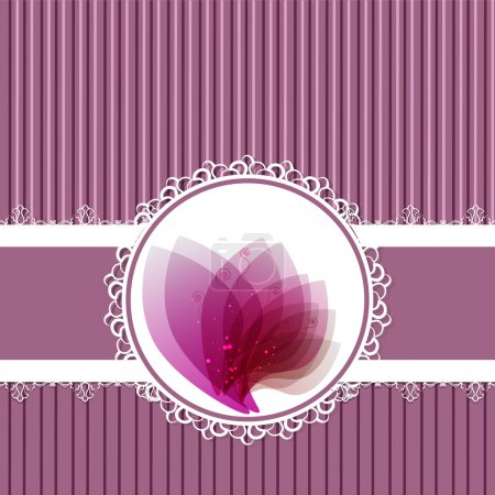 Pink vintage label vector frame with abstract image inside