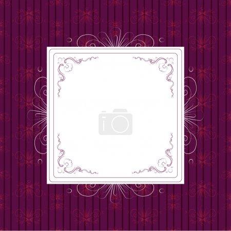Illustration pour Cadre blanc vintage sur fond violet - image libre de droit