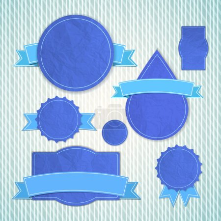 Illustration pour Emblèmes vintage texturés bleus de différentes formes avec des rubans vides courbés sur - image libre de droit