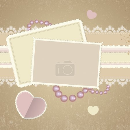 Square cards on romantic background