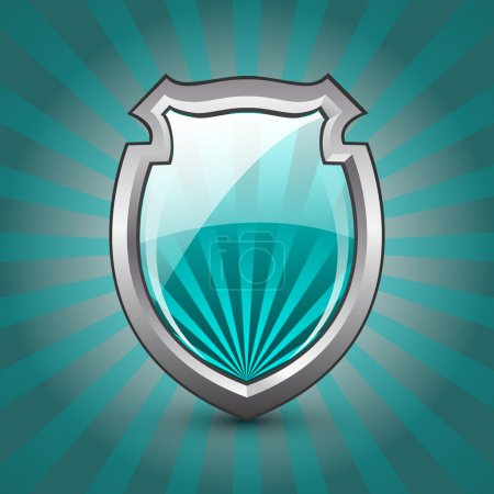 Glossy Shield Protection Icon on blue and grey background