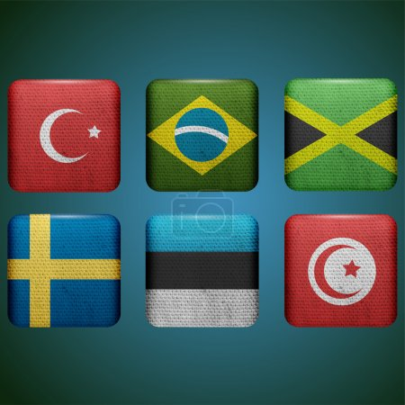 Illustration for Set of six buttons with flags - Royalty Free Image