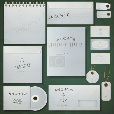 """Illustration for Set of paper envelopes, notebook and visiting cards with inscription """"anchor"""". Vector illustration - Royalty Free Image"""