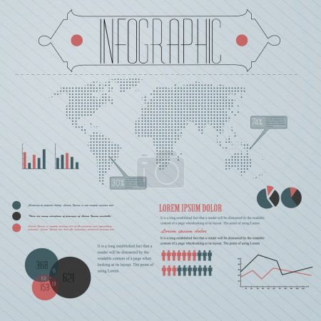 Detail-Infografik Vektorillustration. Weltkarte und Informationsgrafik