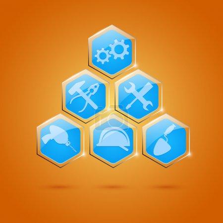 Illustration pour Différents types d'icônes d'outils ensemble d'icônes vectorielles - image libre de droit