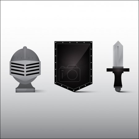Set of old style medieval icons