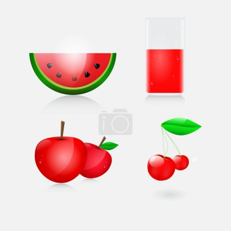 Vector illustration of juice, watermelon, apple and cherry