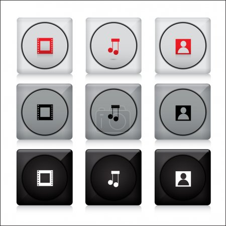 Illustration for Set of media buttons. - Royalty Free Image