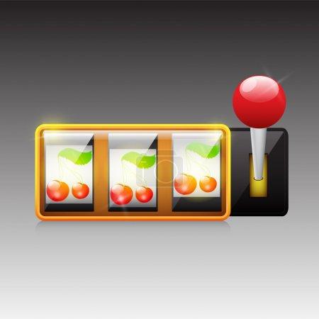 Cherries on slot machine. Vector.
