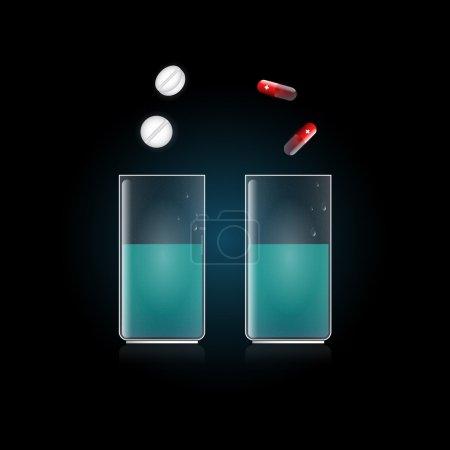Illustration pour Comprimé en verre avec de l'eau. Illustration vectorielle - image libre de droit