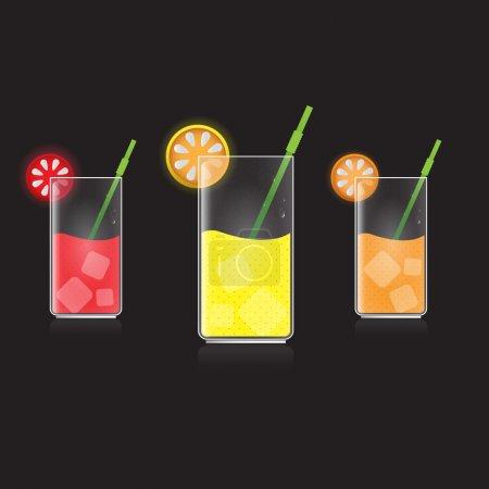Illustration pour Citron, pamplemousse et jus d'orange - image libre de droit