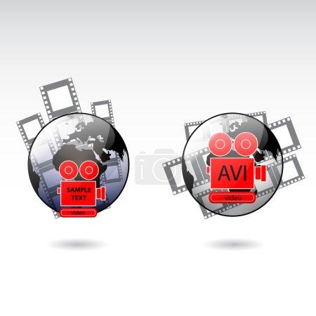 Ikonen der Filmkamera, Vektorillustration