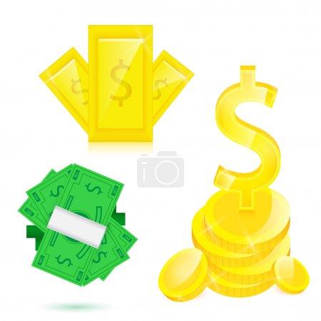 Illustration pour De l'argent. Jeu d'illustrations vectorielles - image libre de droit