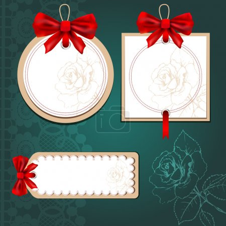 Illustration pour Ensemble de belles cartes avec des noeuds cadeaux rouges - image libre de droit