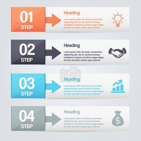 Photo pour Étapes processus flèches illustration vectorielle - image libre de droit