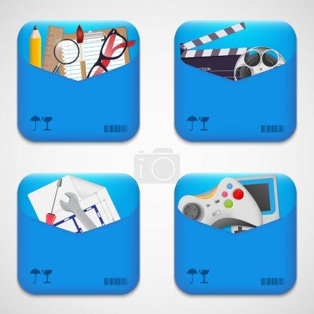 Photo pour Icônes de dossier vectoriel définir l'illustration vectorielle - image libre de droit