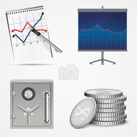 Fournitures de bureau et d'affaires. Illustration vectorielle .