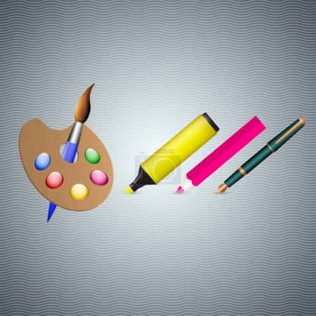 Estilográfica, rotulador, lápiz y pincel. Ilustración vectorial