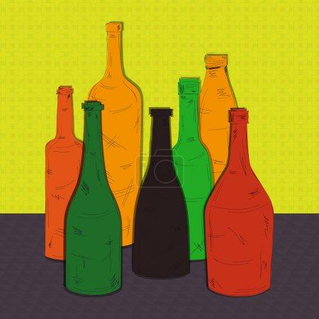 Illustration pour Illustration vectorielle de bouteilles colorées - image libre de droit