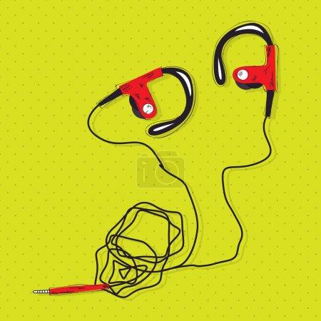 rote Kopfhörer Vektor Illustration