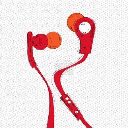 Vektorillustration der roten Kopfhörer