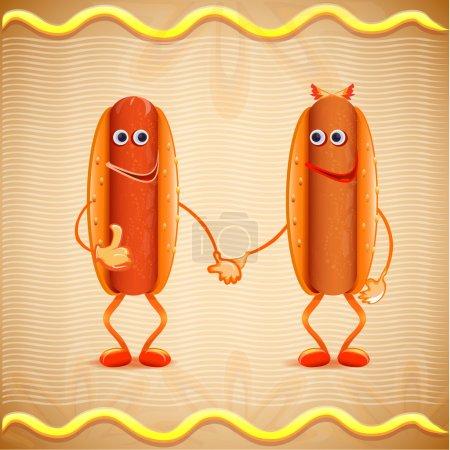 Illustration pour Illustration vectorielle de deux hotdogs - image libre de droit