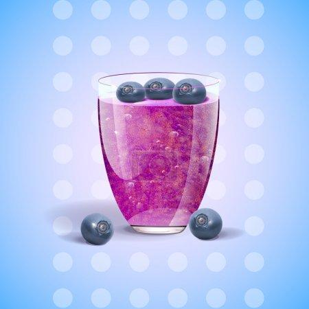 Illustration pour Du jus de myrtilles coulant. Illustration vectorielle - image libre de droit