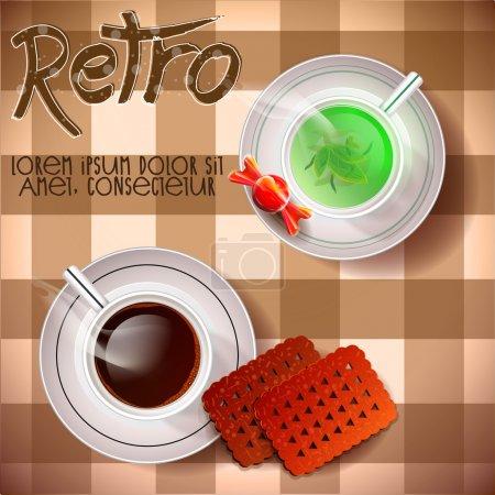 Illustration pour Table avec thé et bonbons. Illustration vectorielle - image libre de droit