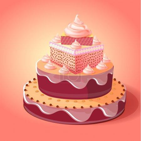 Illustration pour Gâteau d'anniversaire. illustration vectorielle - image libre de droit