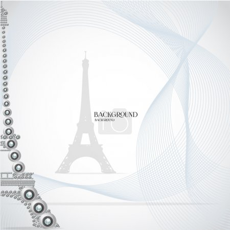 White eiffel tower made from webcam. Vector illustration