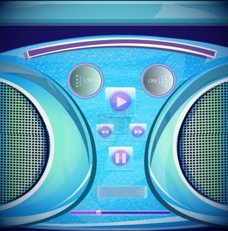 Set of stereo CD mp3 radio recorder boombox. Vector illustration