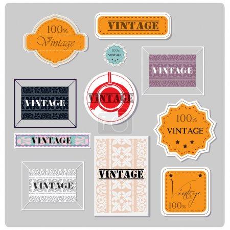 Illustration pour Jeu d'étiquettes vintage vectorielles - image libre de droit