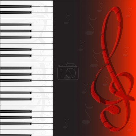 Illustration pour Piano et fleur décorent sur fond noir. Illustration vectorielle - image libre de droit