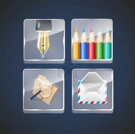 Icon set Tinte und Bleistift, E-Mail. Vektorillustration