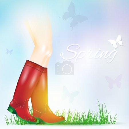 Illustration pour Paire de bottes de pluie brillantes. Illustration vectorielle - image libre de droit