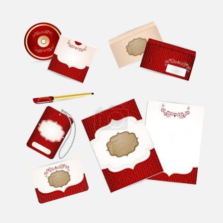 Illustration pour Modèle d'identité d'entreprise rouge . - image libre de droit
