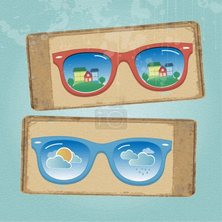 Illustration for Retro eyeglasses with cityscape and weather reflection in it - Royalty Free Image