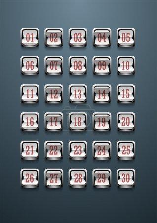 Set of figures on a mechanical scoreboard