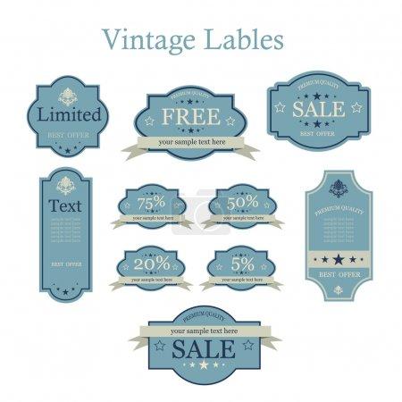 Illustration pour Ensemble vectoriel d'étiquettes vintage - image libre de droit