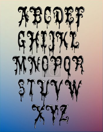 Ilustración de vectores de alfabeto de cera negra