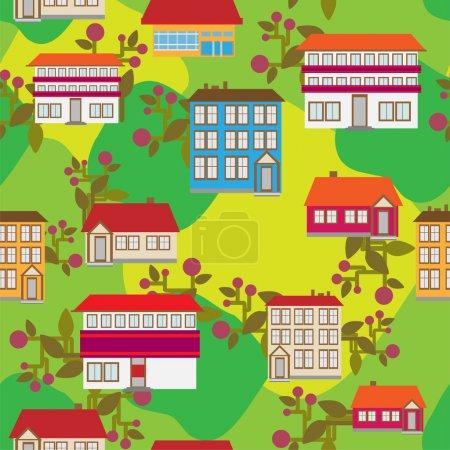 Illustration vectorielle de ville de dessin animé