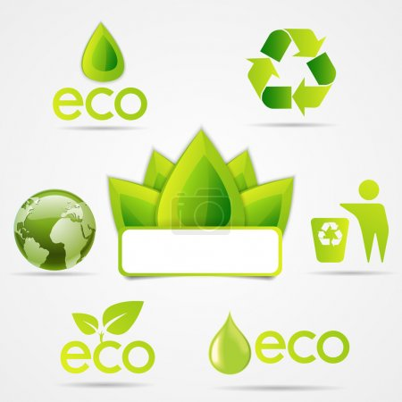 Illustration for Eco icons set, green colour - Royalty Free Image