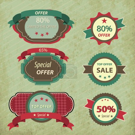 Retro discount sign vector illustration