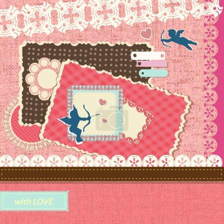 Illustration pour Éléments du album de la Saint-Valentin. Illustration vectorielle . - image libre de droit