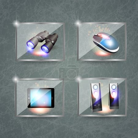 Set of computers icons and binoculars
