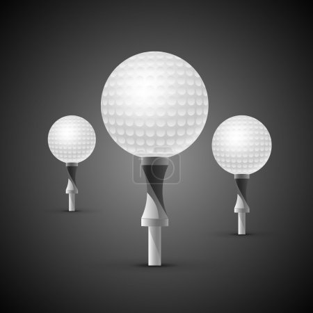 Three realistic golf balls on tees