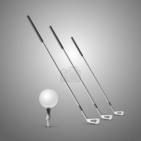 drei Golfschläger und Ball. Vektor-Illustration isoliert auf grauem Hintergrund